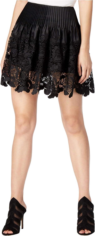 Mare Mare Womens Joan Pleated Crochet-Lace Mini Skirt Black M