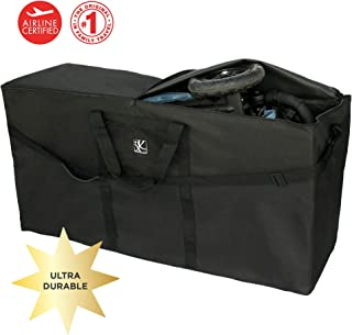 J.L. Childress Stroller Travel Bag for Single and Double Strollers, Durable and Protective, Water-Resistant and Easy Clean, Carry Handles and Detachable Padded Shoulder Strap, Black