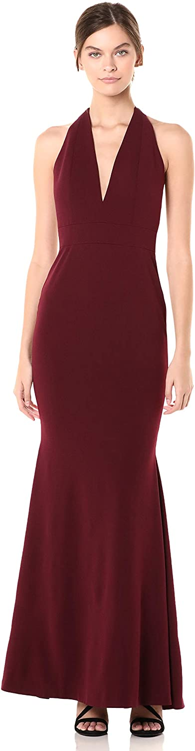 Dress the Population Women's Camden Sleeveless Halter Plunging Long Stretch Gown, Burgundy, XX-Large