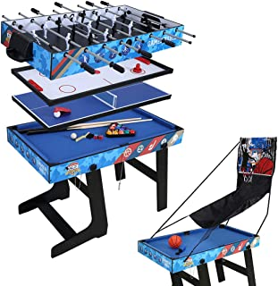 4ft Multi-Function 5 in 1 Combo Game Table- Hockey Table, Foosball Table, Pool Table, Table Tennis Table, Basketball Table