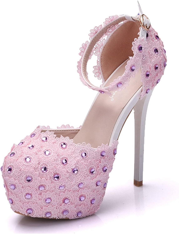 Minishion Womens Round Toe Hidden-Platform Stiletto High Heel Lace Flowers Wedding shoes