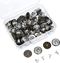 WOWOSS 50 Sets Jeans Buttons Metal Button Snap Buttons Replacement Kit with Rivets and Plastic Storage Box
