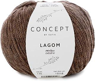 Katia 50 g Concept Lagom - Couleur 116 marron cerf - Une collection de laine avec fibres naturelles qui apportent une gran...