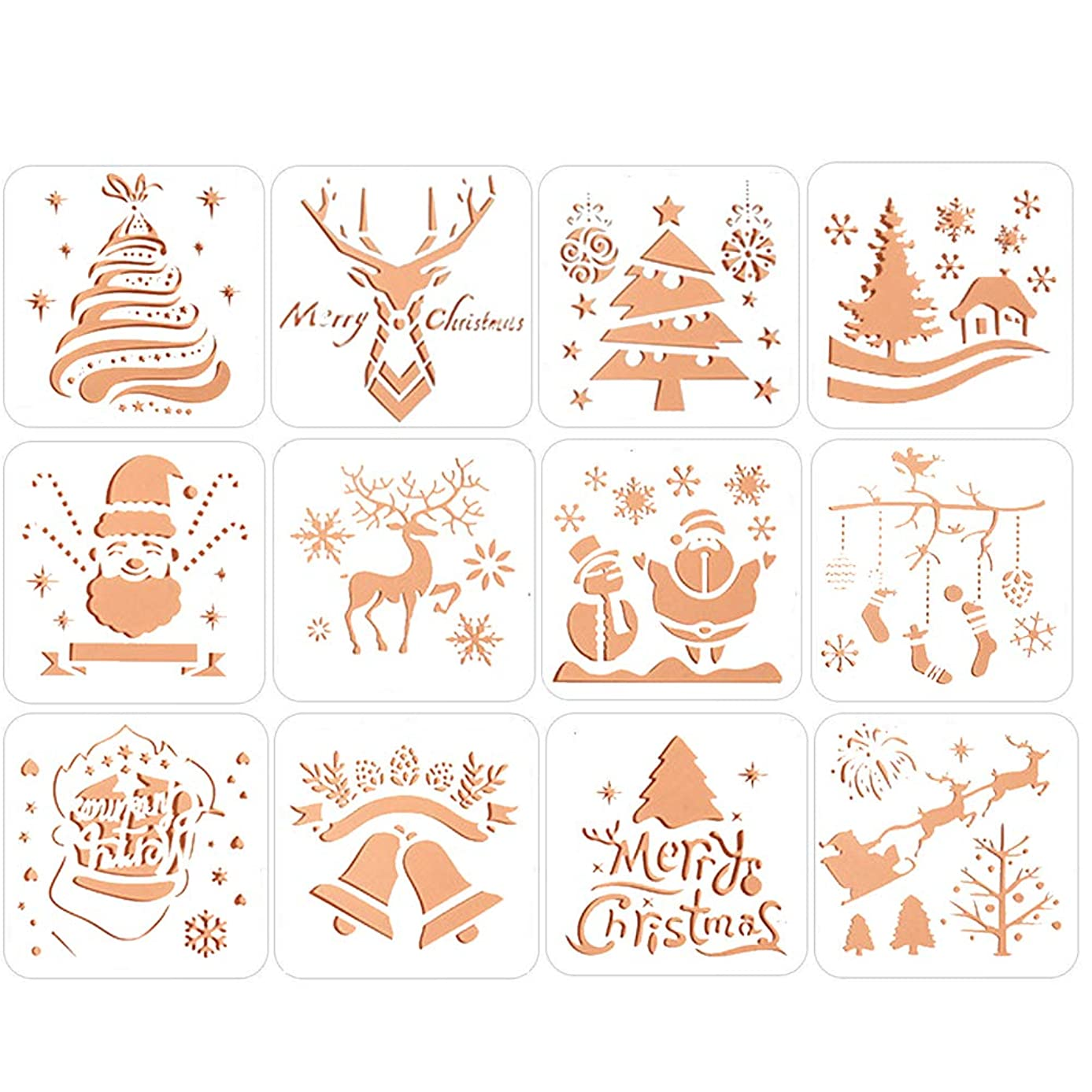 Christmas Painting Stencils Cute Christmas Trees Snowflake Jingle Bell Snowman Santa Claus Bullet Journal Stencil Spraying Templates for Christmas Card DIY Drawing Craft-12 pcs