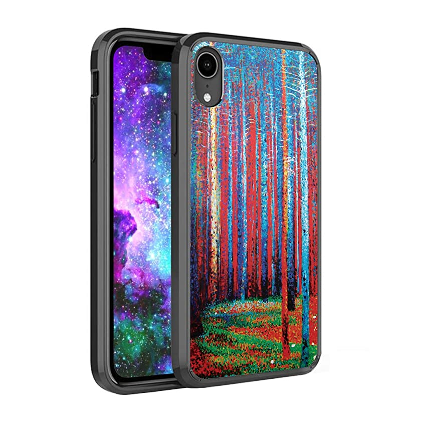 Capsule Case Compatible with iPhone XR [Hybrid Slim Back Shield Fused TPU Edge Bumper Case Black] for iPhone XR 2018 - (Tannenwald Pine Forest)