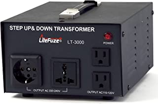 LiteFuze LT-3000 3000 Watt Voltage Converter Transformer - Step Up/Down - 110V/220V - Circuit Breaker Protection