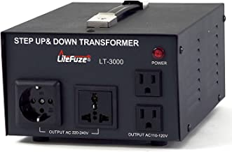 LiteFuze LT-3000 3000 Watt Voltage Converter Transformer - Step Up/Down - 110V/220V - Circuit Breaker Protection
