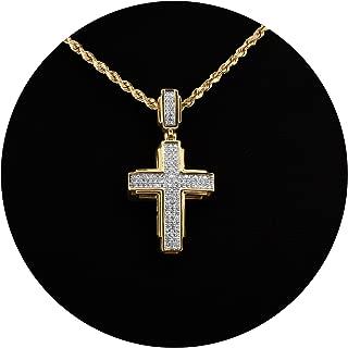 10K Yellow Gold 0.25 Carats (ctw) Diamond Cross Pendant (1.35