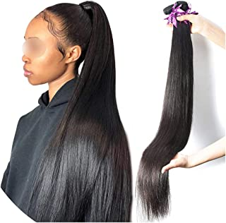 U-see Brazilian Straight Hair Weave 28 30 40 Inch 3 4 Bundles Deal 100% Human Hair Virgin Hair Natural Color Double Drawn,40Inches