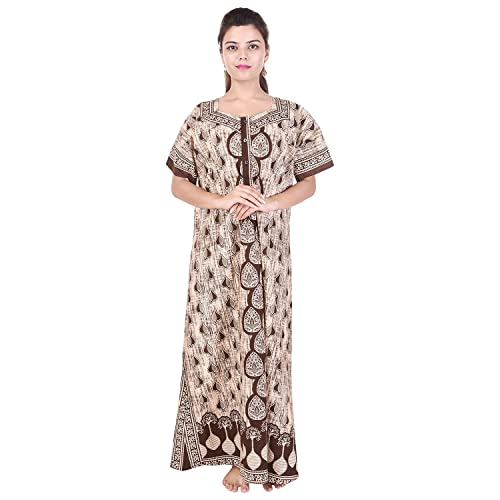 Mudrika Women's Cotton Jaipuri Print One Piece Long Maxi (SON_4639, Multicolour, Free Size)