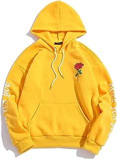 Men's Rose Letter Fleece Kangaroo Pocket Pullover Drawstring Hoodie Sweatshirt
