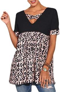 GAGA Women's T Shirt Leopard Color Block Splicing Tops Short Sleeve Casual Cross V Neck Blouses
