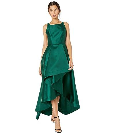 Adrianna Papell Mikado High-Low Gown (Dark Forest) Women