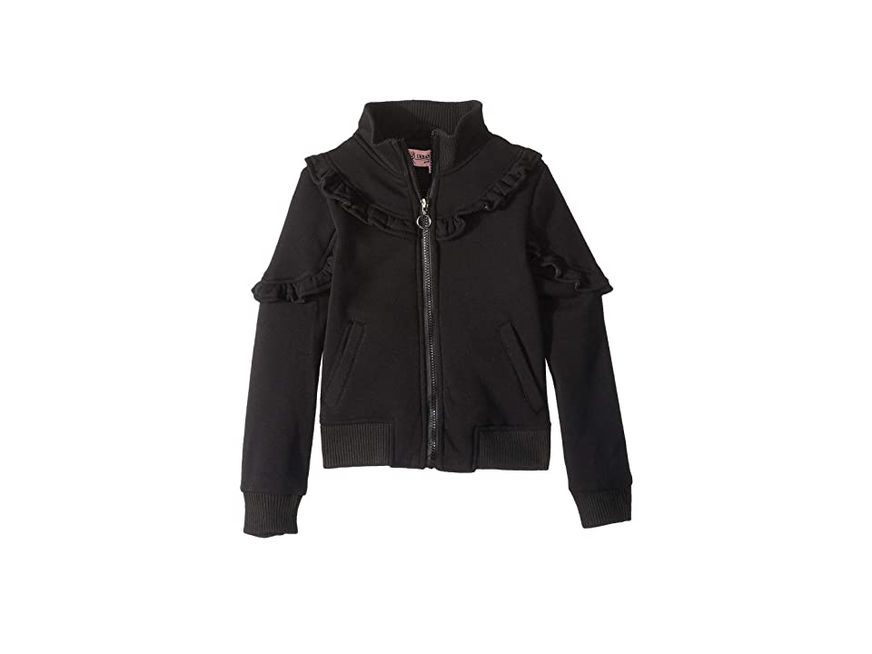Urban Republic Kids Selena Fleece Bomber Jacket w/ Ruffles (Little Kids/Big Kids) (Black) Girl