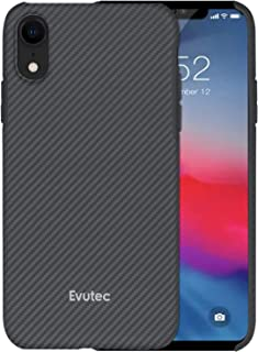 Evutec Case Compatible with iPhone Xr Karbon SP Hard Smooth Anti-Scratch Real Aramid Fiber Strong Protective 0.7mm Slim Durable Snap-on Black Phone Cover