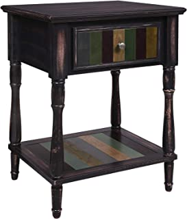 VASAGLE End Table with 1 Colorful Drawer, Bedside Table with Turned Wood Legs, 1 Storage Shelf, Assembly Without Tools, Nightstand for Bedroom, Country Brown ULET17GL