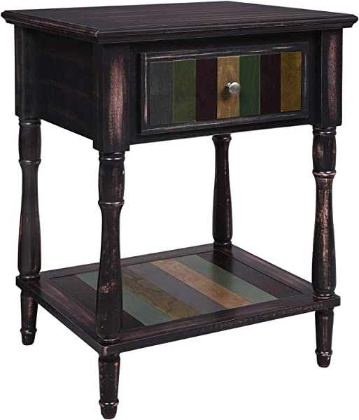 VASAGLE End Table With 1 Colorful Drawer Bedside Table With Turned Wood Legs 1 Storage Shelf Assembly Without Tools Nightstand For Bedroom Country Brown ULET17GL