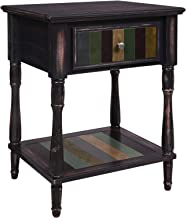 VASAGLE End Table with 1 Colorful Drawer, Bedside Table with Turned Wood Legs, 1 Storage Shelf, Assembly Without Tools, Nightstand for Bedroom, Country Brown
