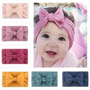 4PCS Baby Girl Headbands Big Bows Elastic Stretchy Turban Head Accessories Hair Bands for Newborns Toddlers