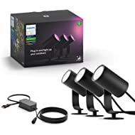 Philips Hue Lily White & Color Outdoor Spot Light Base kit (Hue Hub required), 3 Spot Lights with...