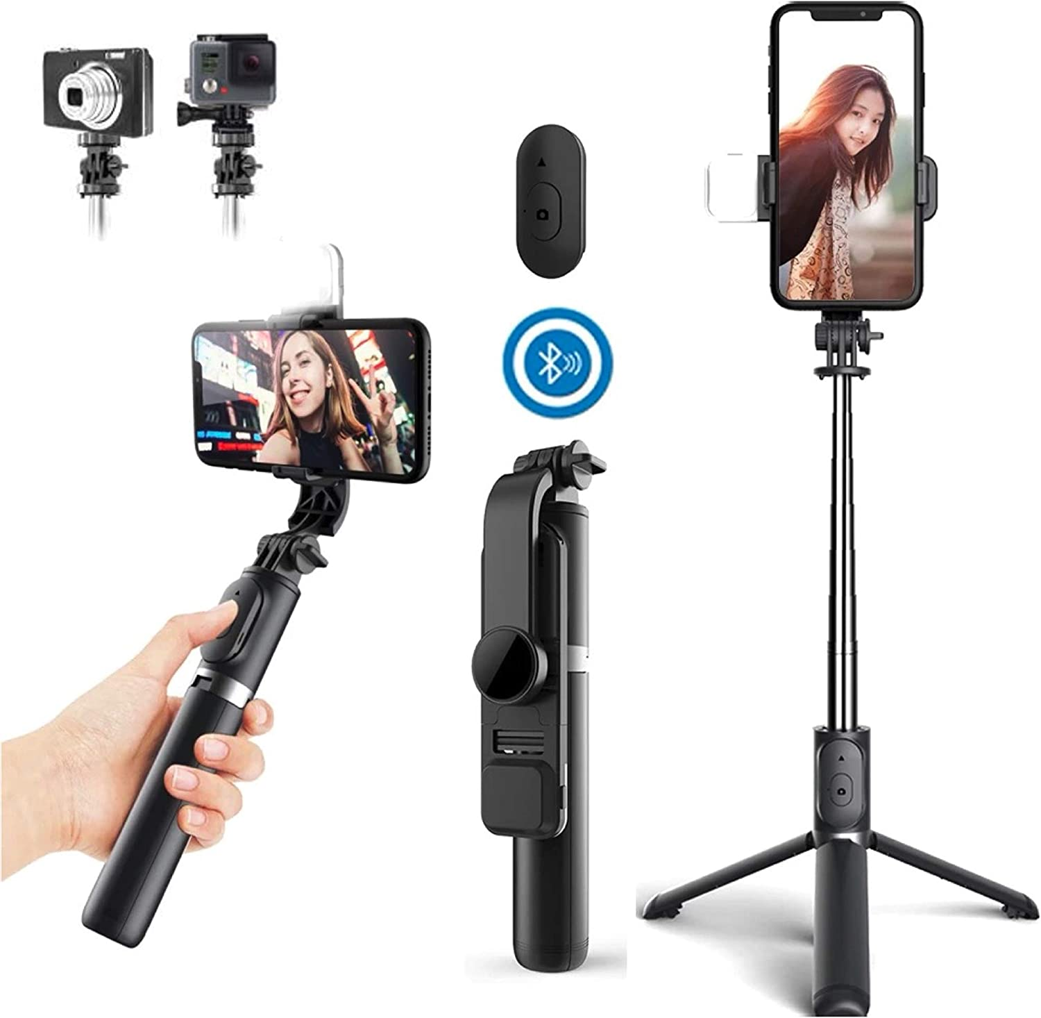 All Android K/éviji 4 in 1 Selfie Stick Cameras GoPro and More 40 360 Degrees Extendable Heavy Weight Selfie Stick Tripod with Wireless Remote Shutter Compatible with All iPhones