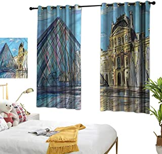 Sketchy Customized Curtains Louvre Palace Museum Paris Home Garden Bedroom Outdoor Indoor Wall Decorations 55