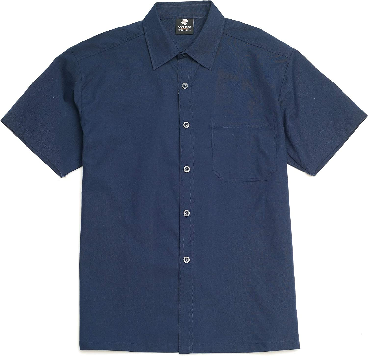 YAGO Men's Casual Checkered Relaxed Fit Button Up Short Sleeve Work Shirt