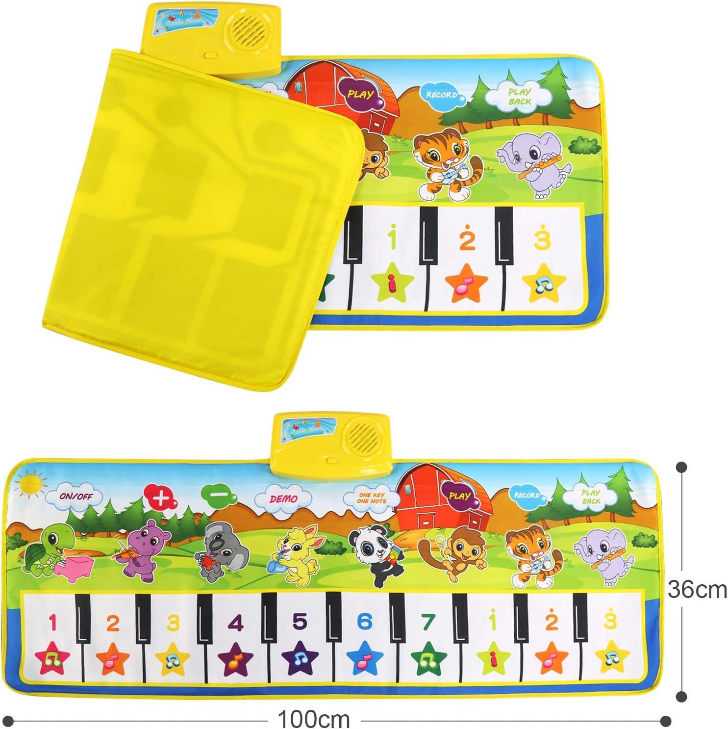 Gr/ün Keyboard Matten Spielteppich Baby Tanzmatte f/ür Jungen M/ädchen Kinder 100*36 cm Klaviermatte mit 8 Instrumenten NEWSTYLE Tanzmatte,Musikmatte f/ür Kinder