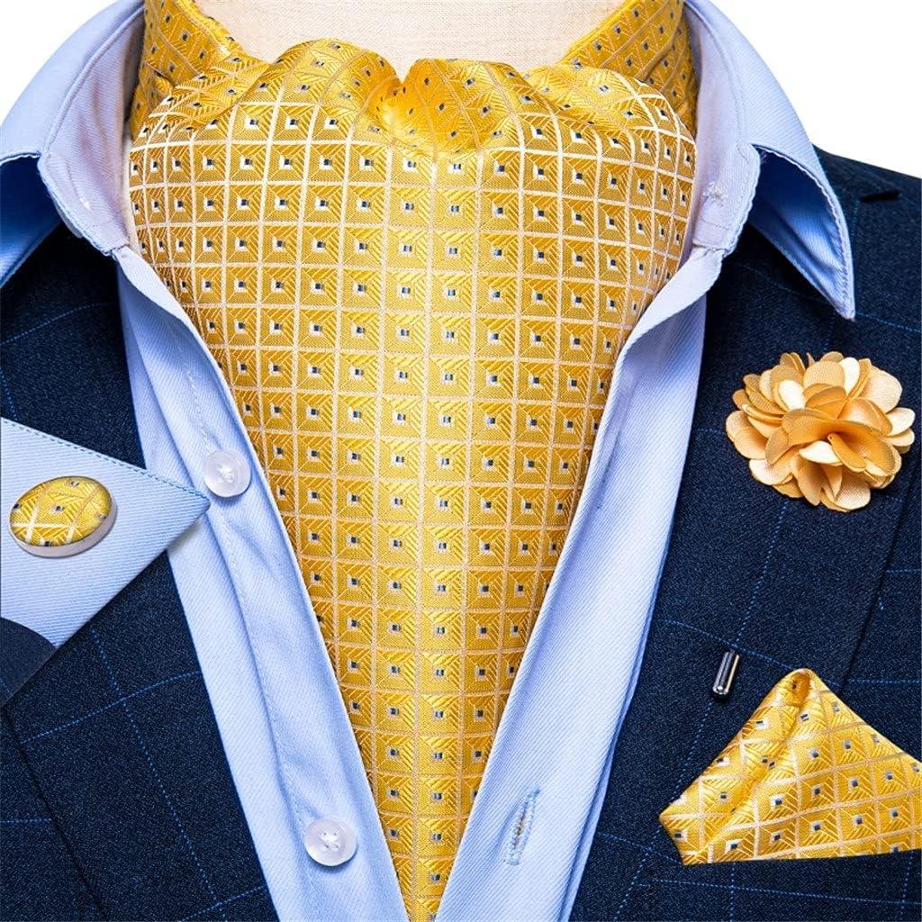 NJBYX Men's Silk Tie Check Dot Formal Wedding Ties British Gentleman Necktie Wedding Party (Color : Yellow, Size : One size)