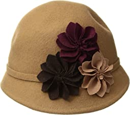 Wool Felt Cloche with Assorted Flowers