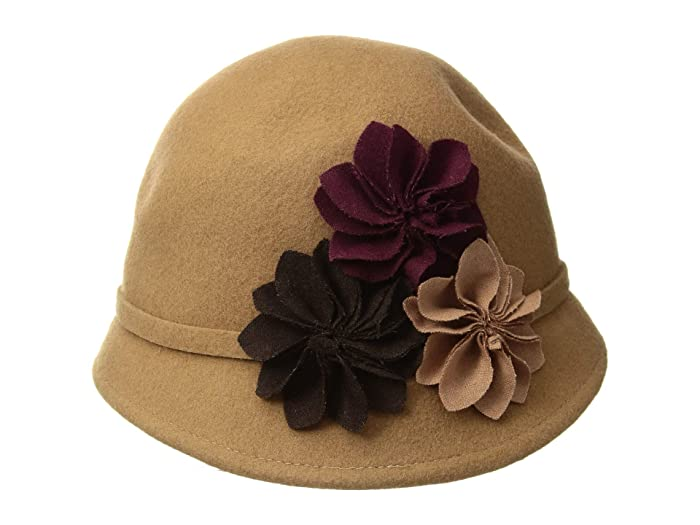 Women's Vintage Hats | Old Fashioned Hats | Retro Hats SCALA Wool Felt Cloche with Assorted Flowers Camel Caps $32.99 AT vintagedancer.com