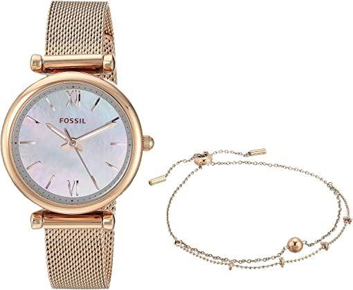 ES4443SET Rose Gold Stainless Steel Mesh Bracelet Set