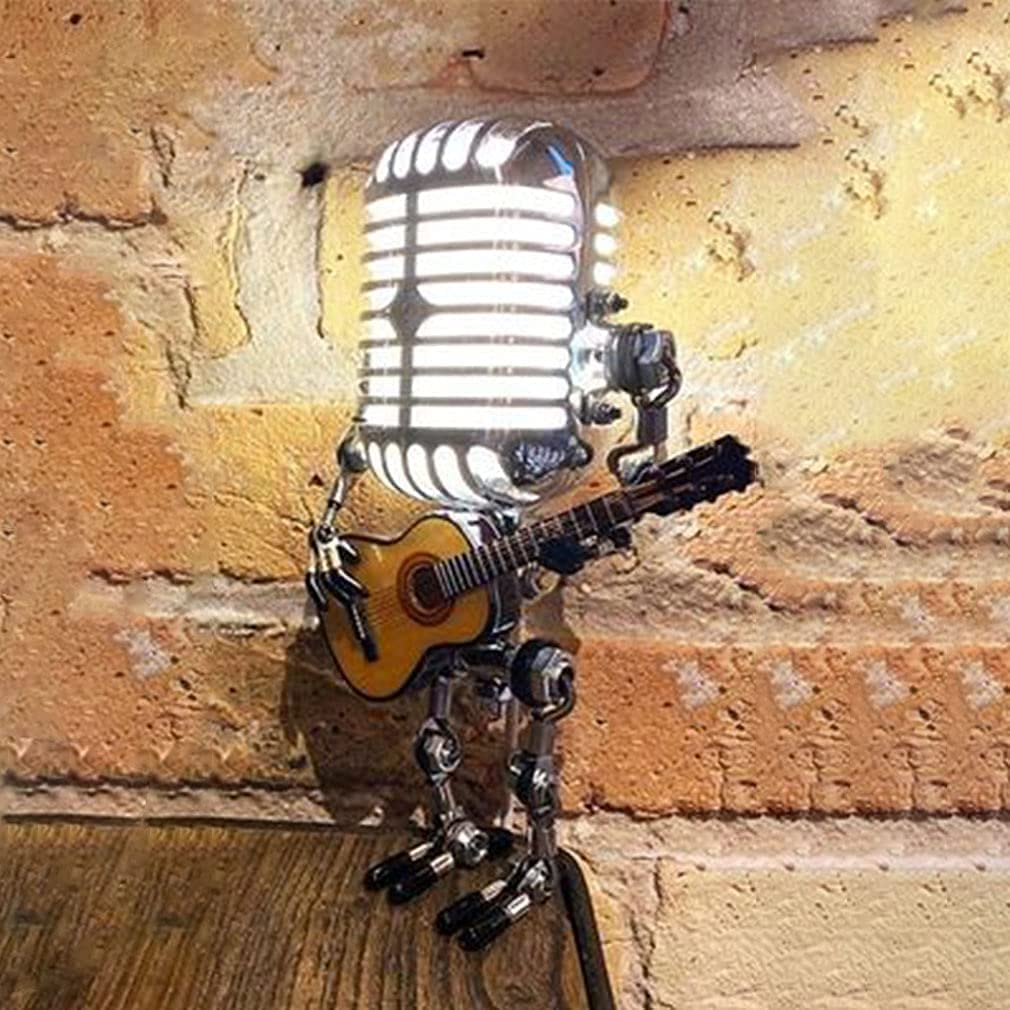 YHQKJ Microphone Max 51% OFF Robot Lamp Solor Night Retro online shopping Light