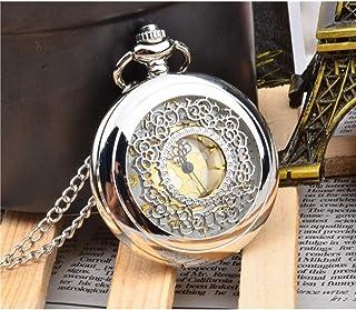 Vintage Pocket Watch ساعة رجالية جوفية ريترو جيب ساعة فليب غطاء كوارتز ساعة رومانية الطلب الفضي الأبيض Numerals Pocket Watch