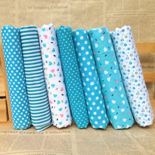 FHDFLY 7pcs Cotton Craft Fabric Bundle Squares Patchwork Lint DIY Sewing Pattern Artcraft