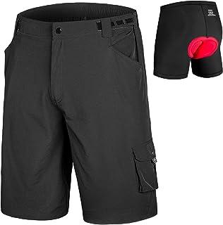qualidyne Men's MTB Mountain Bike Cycling Shorts w/Padded Underwear, Loose Baggy Bicycle Half Pants w/Liner