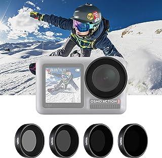 Neewer 4-Pack Filtro Set Compatible con dji Osmo Action Incluye ND8/PL ND16/PL ND32/PL ND64/PL Filtro Rosca Directa Instalación Impermeable y Resistente al Aceite Deportes al Aire Libre (Negro)