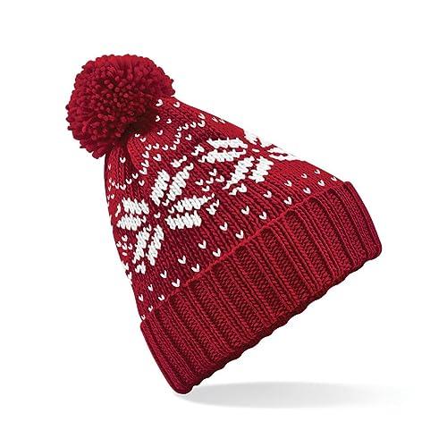 f181061a1f1 Beechfield Unisex Fair Isle Knit Snowstar Beanie Bobble Hat
