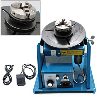 """110V Rotary Welding Positioner Turntable Table Mini 2.5"""" 3 Jaw Lathe Chuck 180mm Portable Welder Positioner Turntable Machine Equipment 2-10 r/min Adjustable Speed"""
