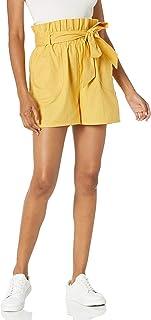 Marca Amazon - Alba - Pantalón Corto de Cintura Para Bolso de Papel - shorts Mujer por The Drop