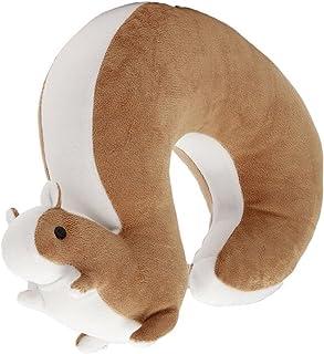 Cartoon U Shape Travel Pillow Car Neck Support Rest Cushion for Airplane Bus Train Home Office Soft Plush,Brown Squirrel