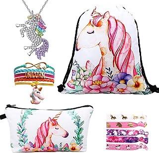 Licorne Cordon Sac /à Dos//Sac /à Maquillage//Collier Pendentif Licorne//Bracelet//Cheveux Attaches RHCPFOVR Licorne Cadeaux pour Les Filles 5 Pack