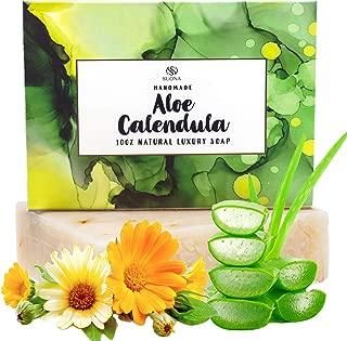 Aloe Vera Calendula Soap Bar-Xmas Stocking Stuffer Gift Idea. Hydrating & Softening Face & Body Wash-Babies,Children & Teens. Calms Skin Irritations.100% Natural Shea Butter,Coconut Oil & Olive Oil