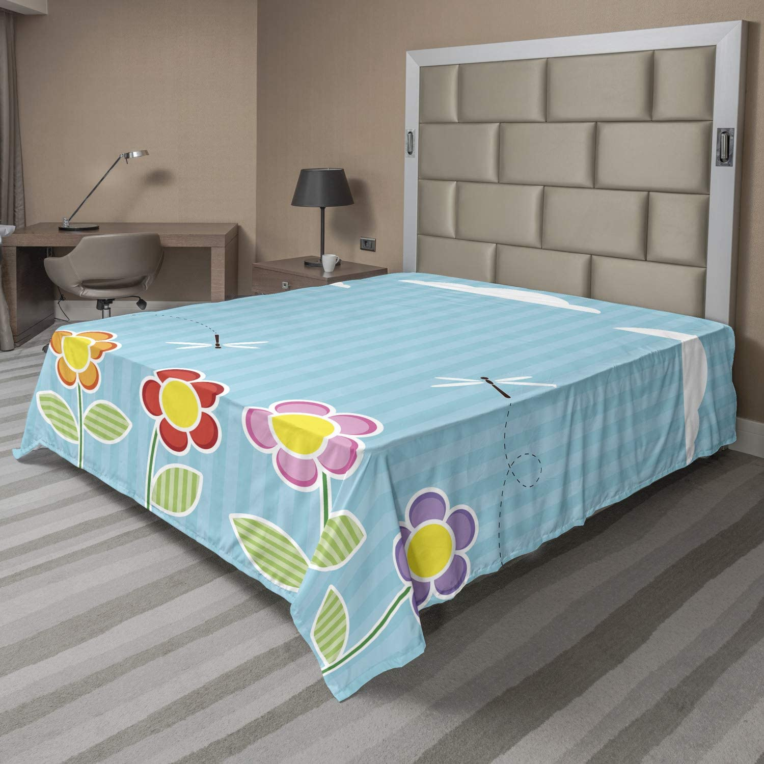 Ambesonne Dragonfly Flat Sheet Playroom Daisy Girls Floral Tucson Mall Bloo Max 52% OFF