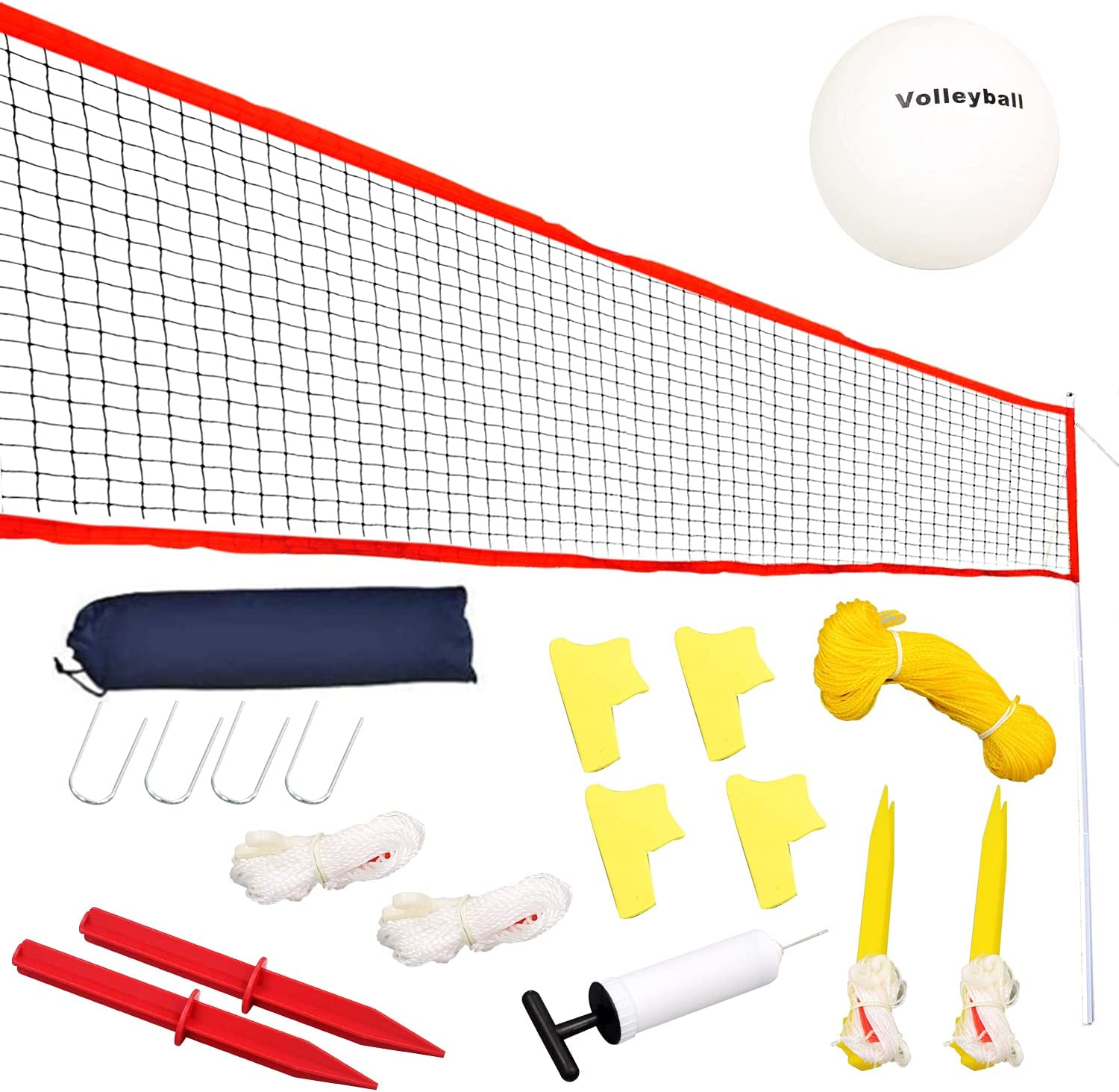 ALPIKA Large 20ft Height-Adjustable Volleyball Net, Portable Badminton/Tennis Net Set, Combo Set Games -Easy Setup Nylon Sports Net with Carry Bag for Beach/Lawn, Backyard/Party : Sports & Outdoors