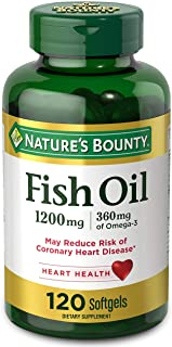 FIsh Oil by Nature's Bounty, Dietary Supplement, Omega 3, Supports Heart Health, 1200 Mg, 120 Rapid Release Softgels