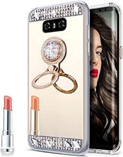 LG G6 Case,LG G6 Mirror Case, Slim Luxury Hybrid Rhinestone Diamond Glitter Bling Mirror Back Shock-Absorption TPU Bumper Protective Case with Ring Stand Holder for LG G6,Gold
