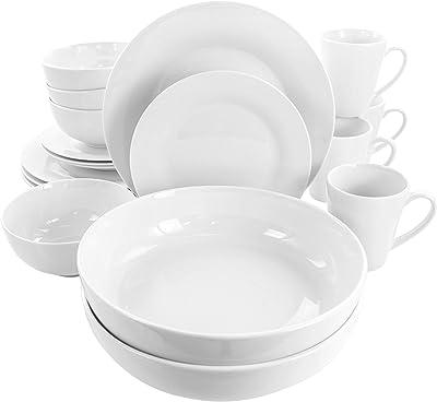 Elama Carey White Porcelain Dish Dinnerware Set, 18 Piece