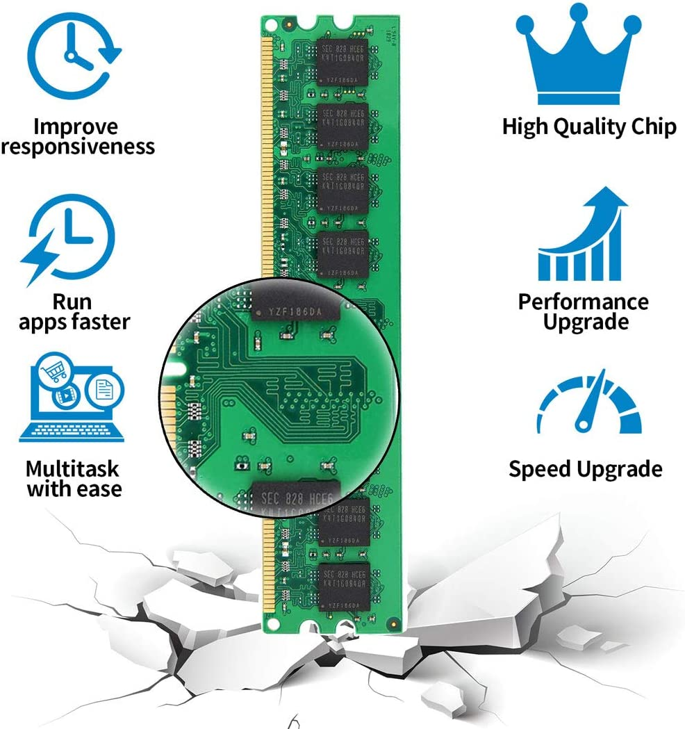 8GB Kit DDR2 800MHz PC2 6400 6400U Unbuffered Non-ECC 1.8V CL6 2Rx8 Dual Rank 240 Pin UDIMM Sobremesa Memoria Principal Module 4x2GB