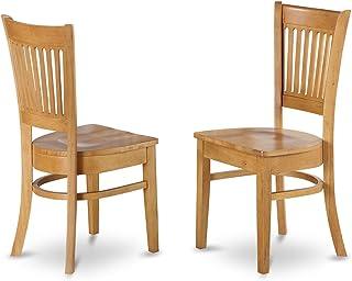 East West Furniture VAC-OAK-W Wood Seat Kitchen/Dining...
